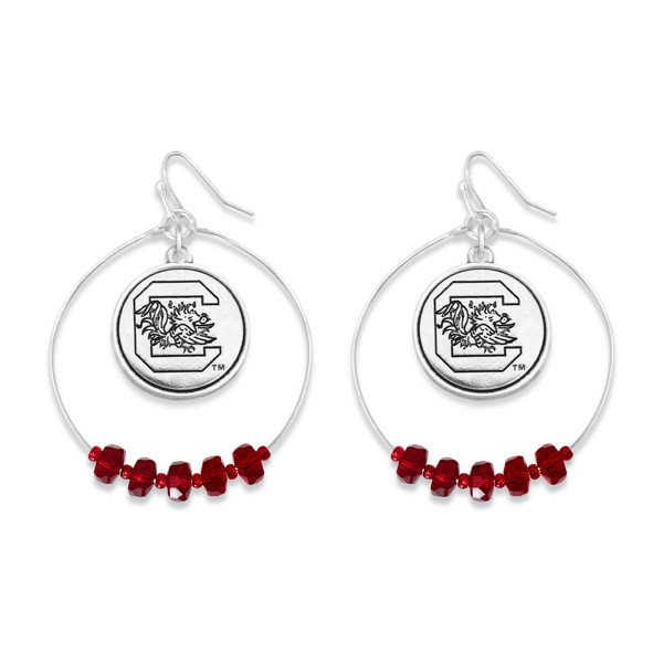 "University of South Carolina Nested Beaded Game Day Drop Earring.  - Approximately 2"" L  - Approximately 1.75"" in Diameter"
