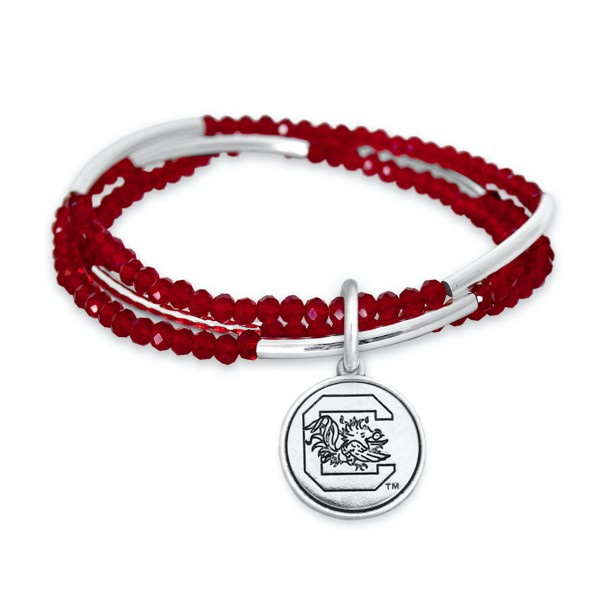 "University of South Carolina Beaded Game Day Stretch Bracelet Set.  - Charm .75""  - Approximately 3"" in Diameter - Fits up to a 7"" Wrist"