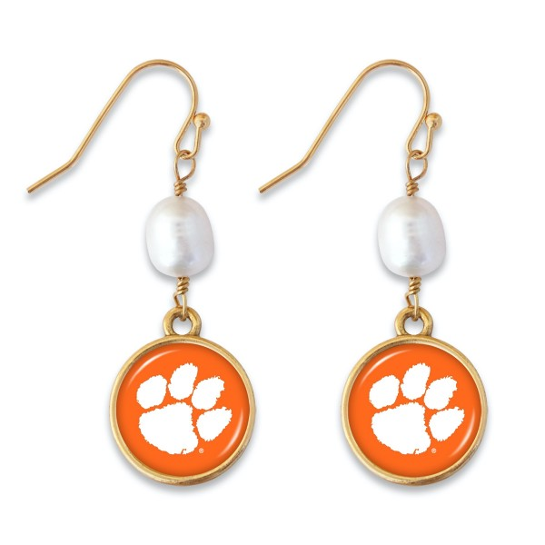 "Clemson Pearl Game Day Drop Earrings.  - Approximately 1.5"" L"