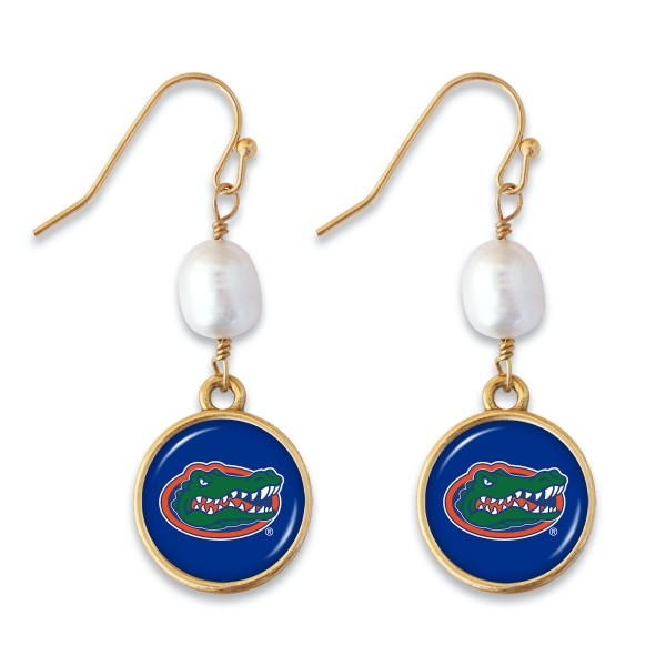 "Florida Gators Pearl Game Day Drop Earrings.  - Approximately 1.5"" L"