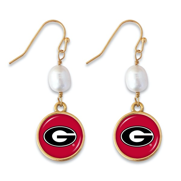 "Georgia Pearl Game Day Drop Earrings.  - Approximately 1.5"" L"