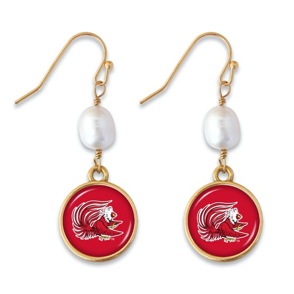 "Jacksonville State University Pearl Game Day Drop Earrings.  - Approximately 1.5"" L"