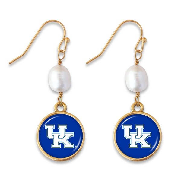 "Kentucky Pearl Game Day Drop Earrings.  - Approximately 1.5"" L"
