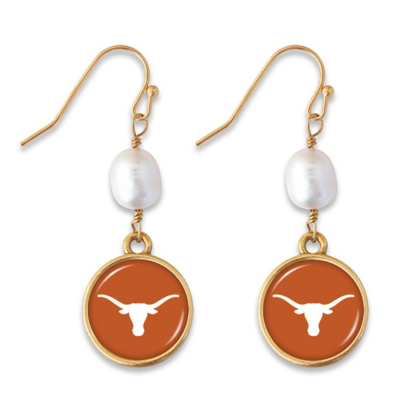 "Texas Longhorns Pearl Game Day Drop Earrings.  - Approximately 1.5"" L"