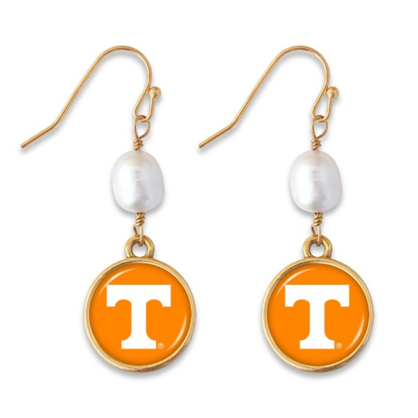 "Tennessee Pearl Game Day Drop Earrings.  - Approximately 1.5"" L"
