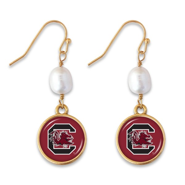 "University of South Carolina Pearl Game Day Drop Earrings.  - Approximately 1.5"" L"