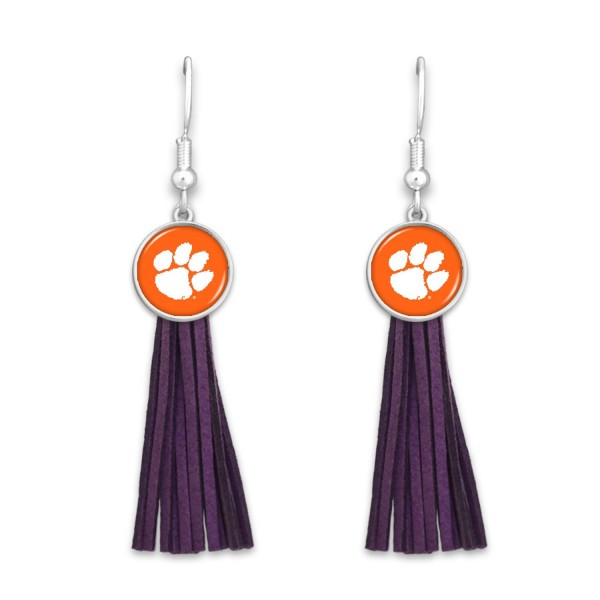 "Clemson Tassel Game Day Drop Earrings.  - Approximately 3"" L"