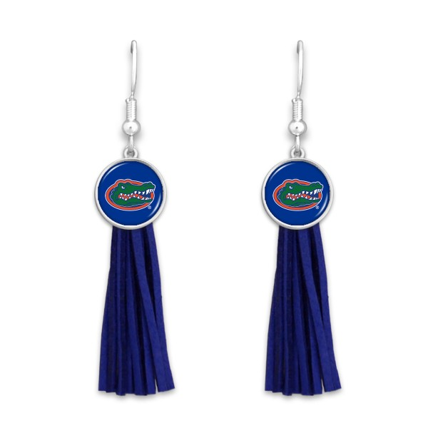 "Florida Gator Tassel Game Day Drop Earrings.  - Approximately 3"" L"