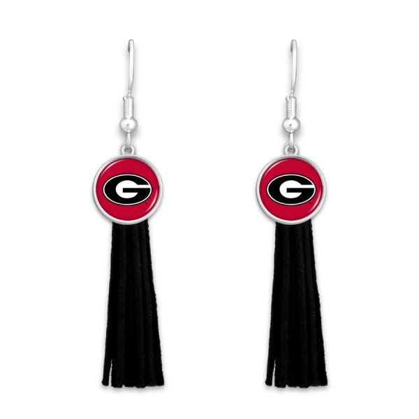 "Georgia Tassel Game Day Drop Earrings.  - Approximately 3"" L"