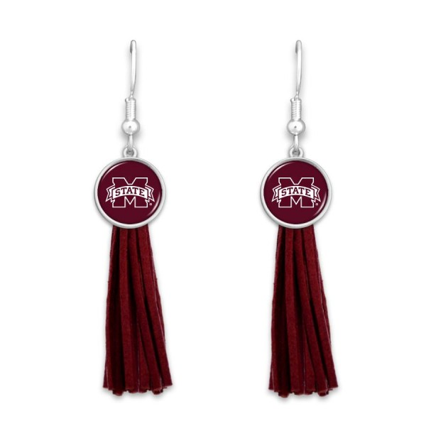"Mississippi State Tassel Game Day Drop Earrings.  - Approximately 3"" L"