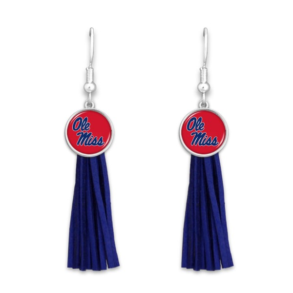 "Ole Miss Tassel Game Day Drop Earrings.  - Approximately 3"" L"