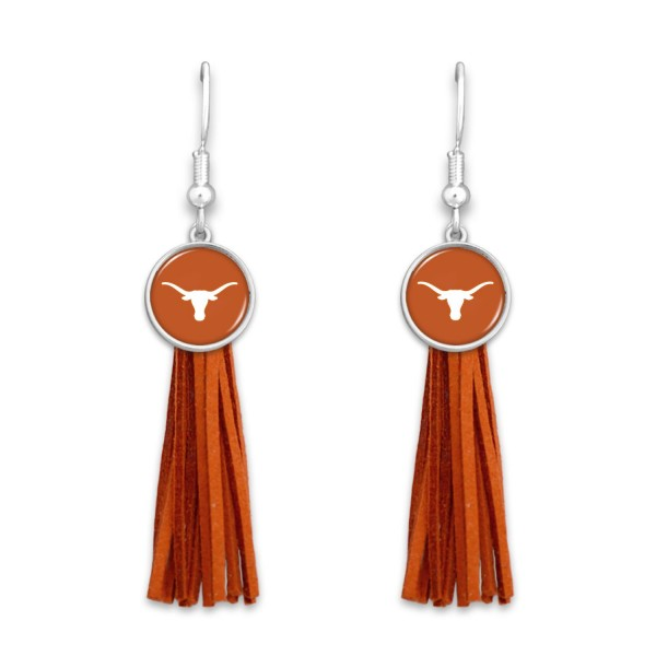 "Texas Longhorn Tassel Game Day Drop Earrings.  - Approximately 3"" L"