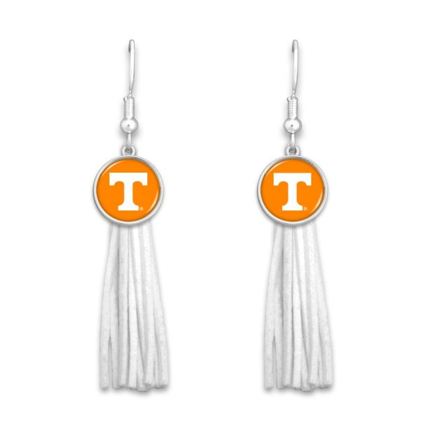 "Tennessee Tassel Game Day Drop Earrings.  - Approximately 3"" L"