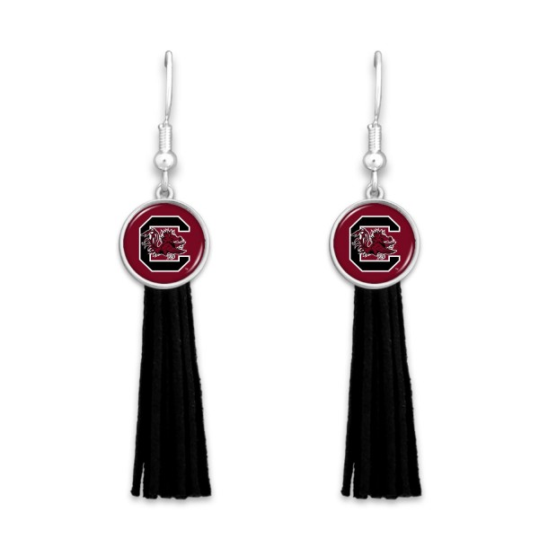 "University of South Carolina Tassel Game Day Drop Earrings.  - Approximately 3"" L"