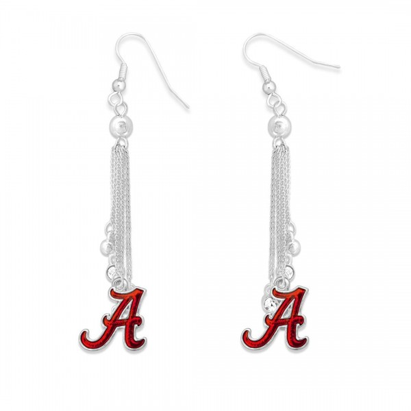 "Alabama Chain Beaded Game Day Drop Earrings Featuring Rhinestone Accents.  - Approximately 3"" L"