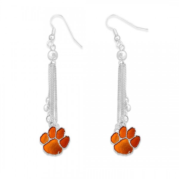 """Clemson Chain Beaded Game Day Drop Earrings Featuring Rhinestone Accents.  - Approximately 3"""" L"""