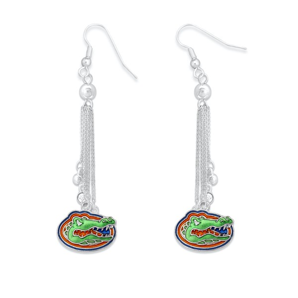 """Florida Gator Chain Beaded Game Day Drop Earrings Featuring Rhinestone Accents.  - Approximately 3"""" L"""