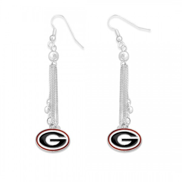 "Georgia Chain Beaded Game Day Drop Earrings Featuring Rhinestone Accents.  - Approximately 3"" L"