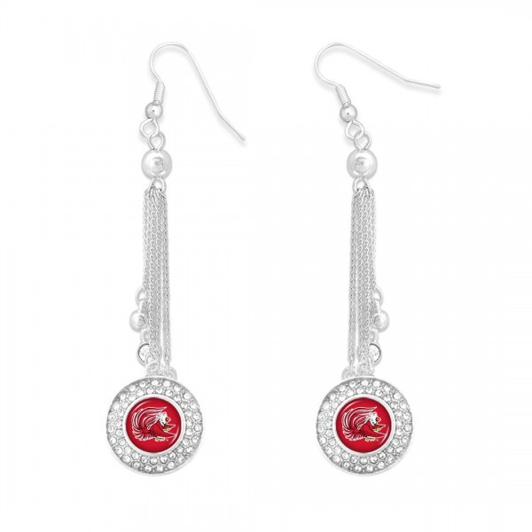 """Jacksonville State University Chain Beaded Game Day Drop Earrings Featuring Rhinestone Accents.  - Approximately 3"""" L"""