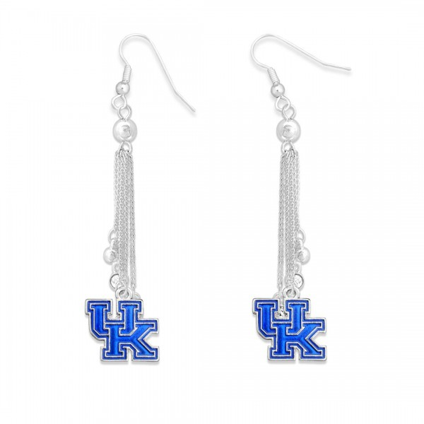 "Kentucky Chain Beaded Game Day Drop Earrings Featuring Rhinestone Accents.  - Approximately 3"" L"