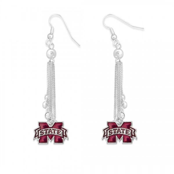 "Mississippi State Chain Beaded Game Day Drop Earrings Featuring Rhinestone Accents.  - Approximately 3"" L"