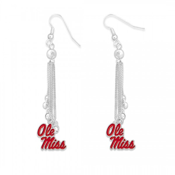 """Ole Miss Chain Beaded Game Day Drop Earrings Featuring Rhinestone Accents.  - Approximately 3"""" L"""