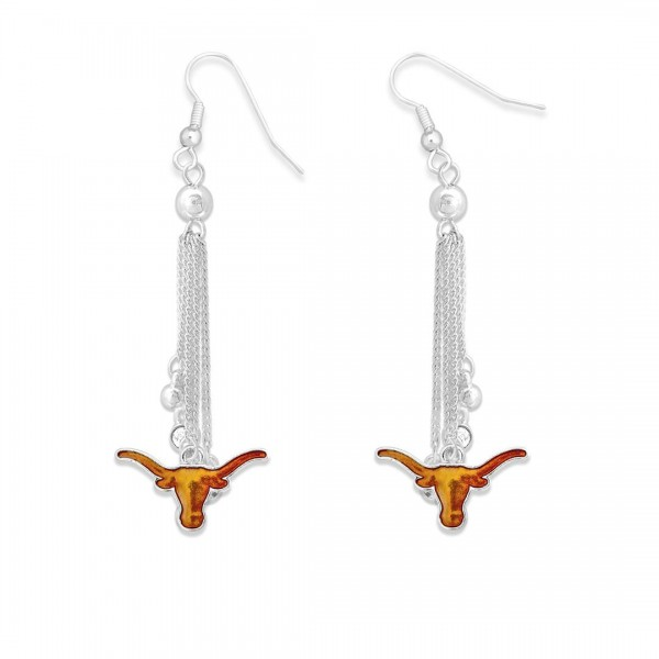 "Texas Longhorn Chain Beaded Game Day Drop Earrings Featuring Rhinestone Accents.  - Approximately 3"" L"