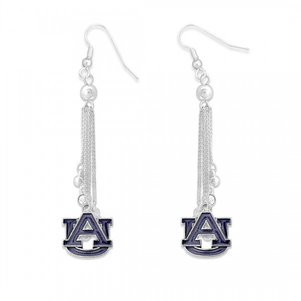"""Auburn Chain Beaded Game Day Drop Earrings Featuring Rhinestone Accents.  - Approximately 3"""" L"""