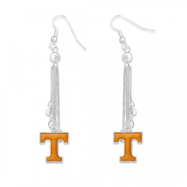 "Tennessee Chain Beaded Game Day Drop Earrings Featuring Rhinestone Accents.  - Approximately 3"" L"