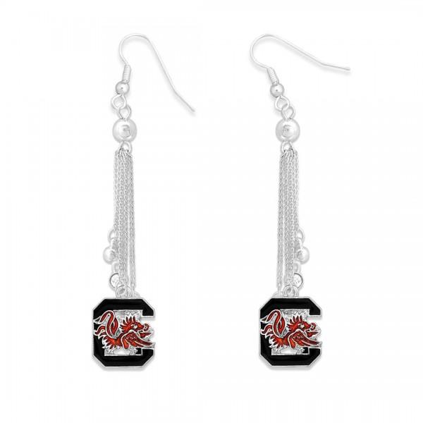 "University of South Carolina Chain Beaded Game Day Drop Earrings Featuring Rhinestone Accents.  - Approximately 3"" L"