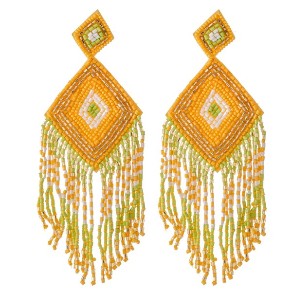 "Oversized Rhombus Shape Seed Beaded Tassel Statement Earrings.  - Approximately 5"" L"