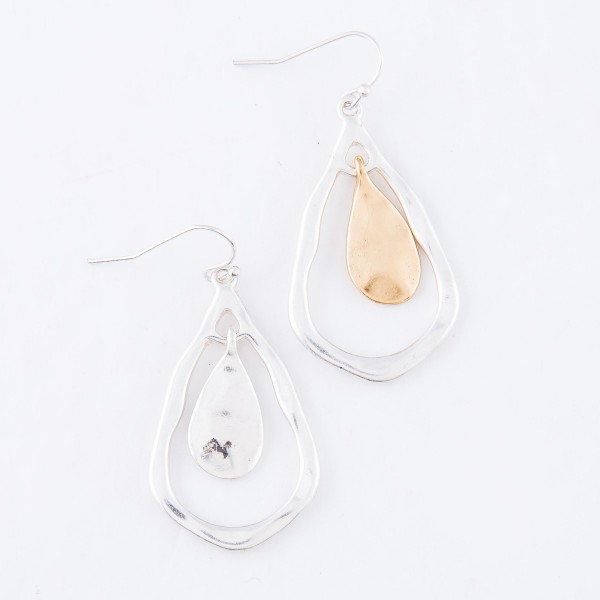 "Two Tone Hammered Nested Teardrop Earrings.  - Approximately 1.5"" L"