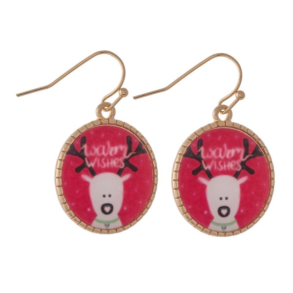 """Glass Reindeer Christmas Print Drop Earrings in Gold.  - Approximately 1"""" Long"""