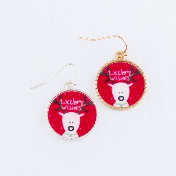 "Glass Reindeer Christmas Print Drop Earrings in Silver.  - Approximately 1"" Long"