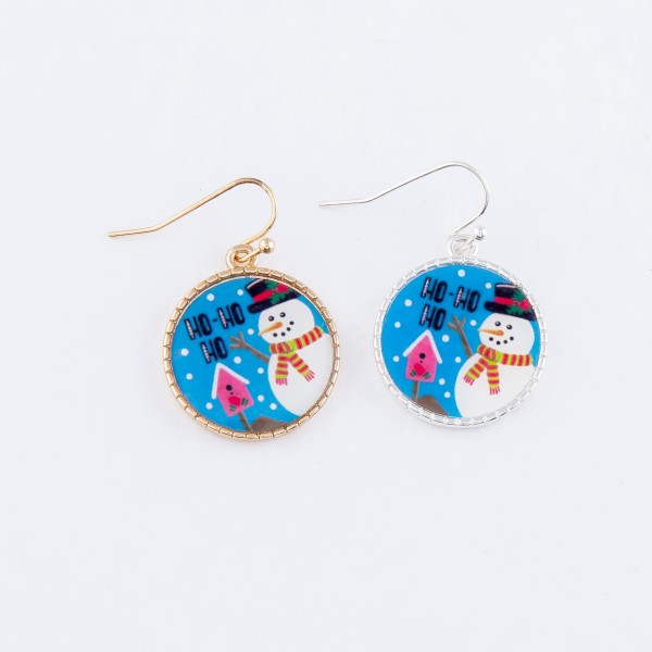 """Glass Snowman Christmas Print Drop Earrings in Silver.  - Approximately 1"""" Long"""