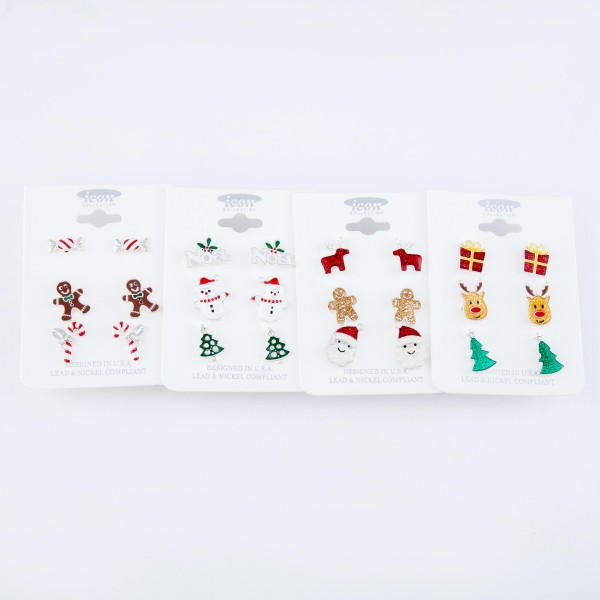 """Enamel Coated Christmas Stud Earring Set.  - 3 Pair Per Set - Features: Candy Canes and Gingerbread Men - Approximately 1cm - .5"""" in Size"""