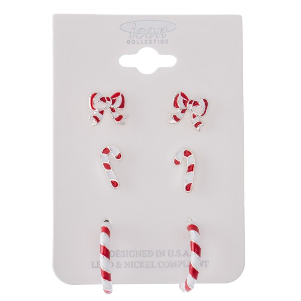"""Enamel Coated Candy Cane Christmas Earring Set.  - 3 Pair Per Set - Bows, Candy Canes and Hoops - Approximately 1cm - .75"""" in Diameter"""