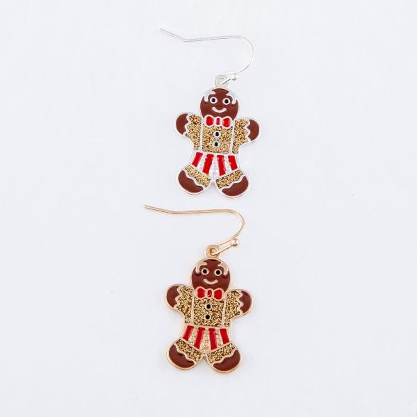 "Enamel Coated Gingerbread Christmas Drop Earrings in Gold.  - Approximately 1.25"" L"