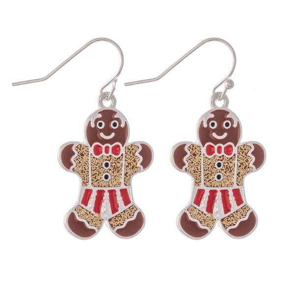 "Enamel Coated Gingerbread Christmas Drop Earrings in Silver.  - Approximately 1.25"" L"