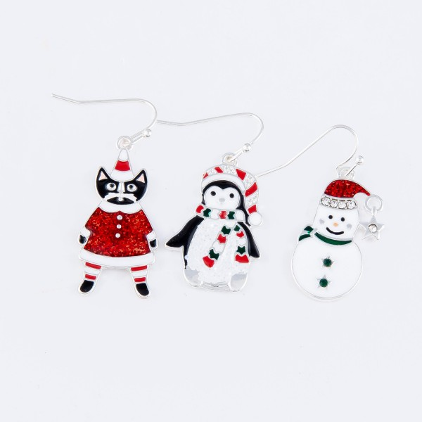 Enamel Coated Christmas Cat Drop Earrings.  - Approximately 1.25""