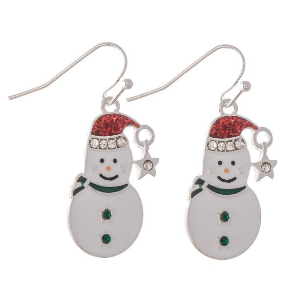 "Enamel Coated Christmas Snowman Drop Earrings.  - Approximately 1.25"""