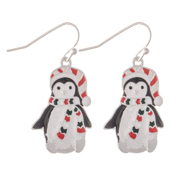 Enamel Coated Christmas Penguin Drop Earrings.  - Approximately 1.25""