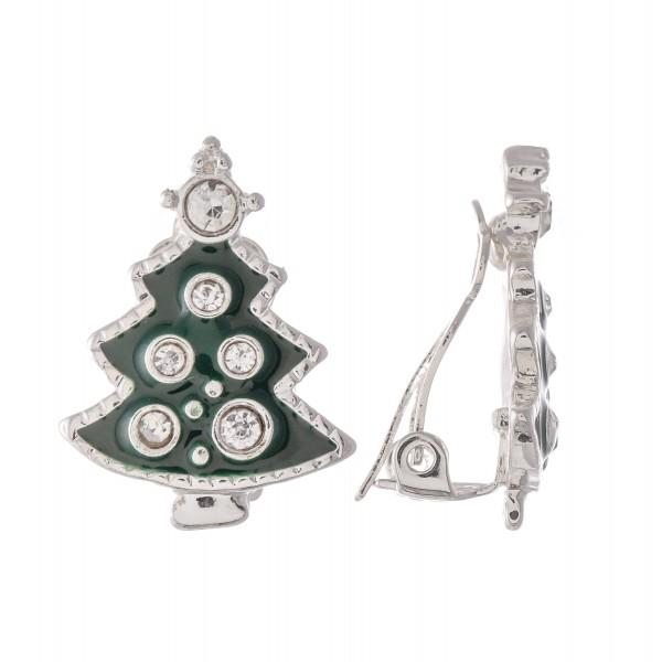 Wholesale enamel Christmas Tree Clip Earrings Silver Rhinestone