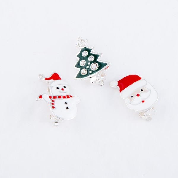 "Enamel Coated Christmas Tree Clip On Earrings in Silver Featuring Rhinestone   - Approximately .75"" in Size"