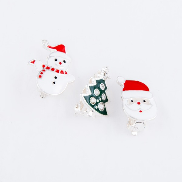 "Enamel Coated Christmas Snowman Clip On Earrings in Silver.  - Approximately .75"" in Size"