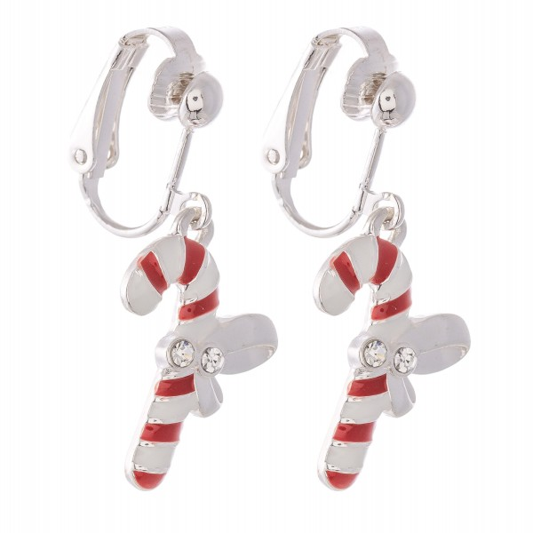 "Enamel Coated Christmas Candy Cane Clip On Earrings in Silver.  - Approximately .75"" in Size"