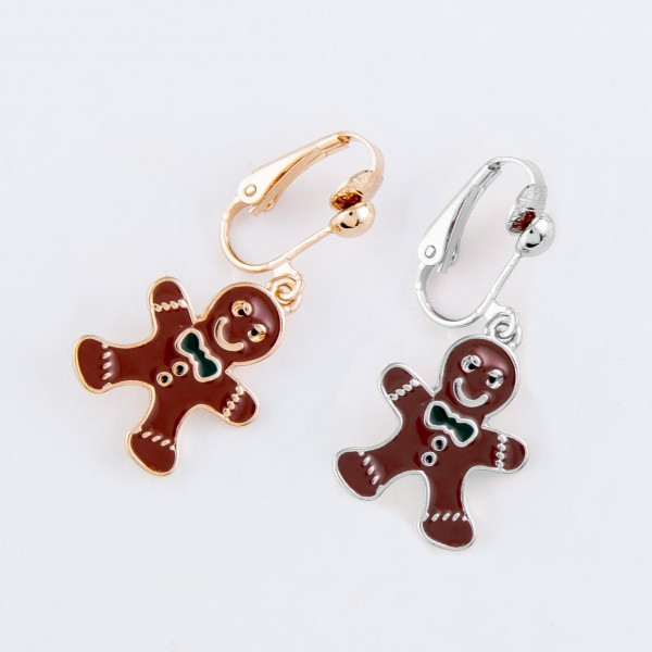 "Enamel Coated Christmas Gingerbread Clip On Earrings in Gold.  - Approximately .75"" in Size"