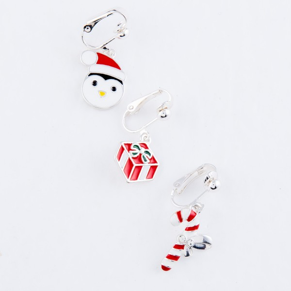 """Enamel Coated Christmas Present Clip On Earrings in Silver.  - Approximately .75"""" in Size"""