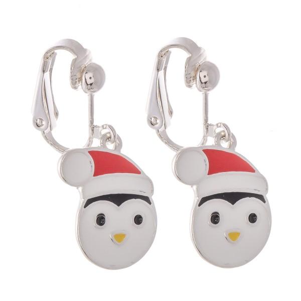 "Enamel Coated Christmas Penguin Clip On Earrings in Silver.  - Approximately .75"" in Size"