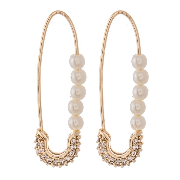 Wholesale brass Cubic Zirconia Pearl Beaded Threader Safety Pin Earrings L
